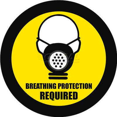 "Durastripe 32"" Round Sign - Breathing Protection Required"
