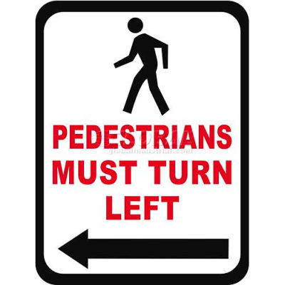 "Durastripe 36""X27"" Rectangle - Pedestrians Must Turn Left"