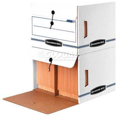 "Fellowes Side-Tab™ Drop Front Letter Boxes, 15-1/2""L x 13-1/2""W x 10-3/4""H, White & Blue - Pkg Qty 12"