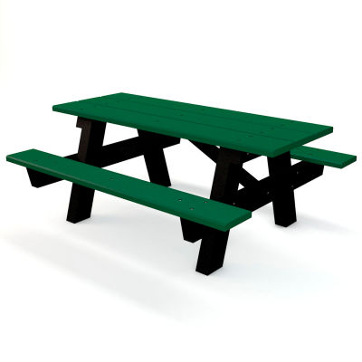 Global Industrial™ 6 ft. Recycled Plastic A-Frame Rectangular Picnic Table - Green