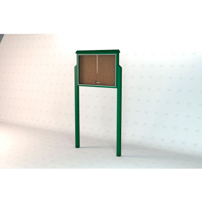 """Frog Furnishings Large Message Center, Recycled Plastic, One Side, Two Posts, Green, 51""""W x 36""""H"""