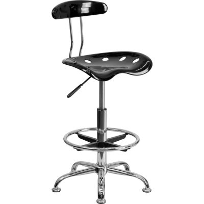 Flash Furniture Desk Stool with Back - Plastic - Black