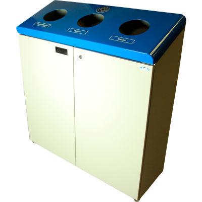 Station de recyclage gratuit permanent trois flux Frost, finition bleue et grise, 316
