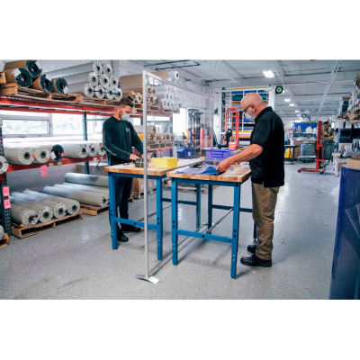 "Global Industrial™ Floor Supported Personal Safety Workbench Partition 60""W x 60""H - Clear"