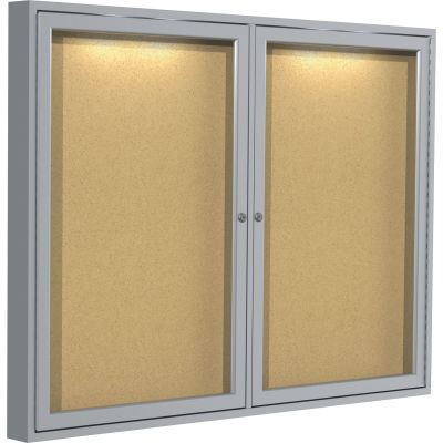 "Ghent 36"" x 47"" Enclosed Bulletin Board - Natural Cork Surface - Silver"