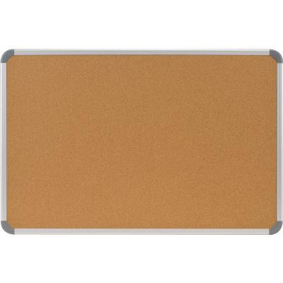 Ghent Cintra 2' x 3' Bulletin Board - Natural Cork Surface - Silver Frame