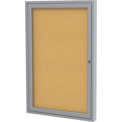 """Ghent Enclosed Bulletin Board - Indoor - Cork - One Door - 24""""W X 36""""H"""