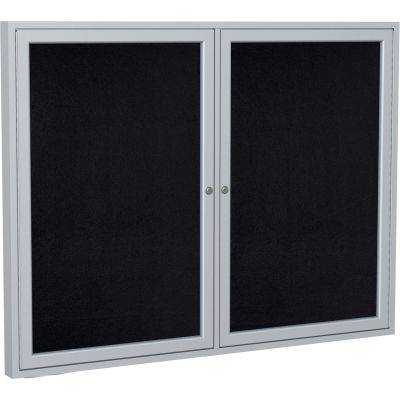 """Ghent Enclosed Bulletin Board - 2 Door - Black Recycled Rubber w/Silver Frame - 36"""" x 48"""""""