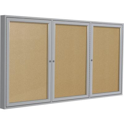 "Ghent Enclosed Bulletin Board - Outdoor / Indoor - Vinyl - 48"" x 96"" H - Caramel"