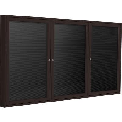 """Ghent Enclosed Letter Board - Outdoor - 3 Door - Black Vinyl w/Bronze Frame - 36"""" x 72"""""""