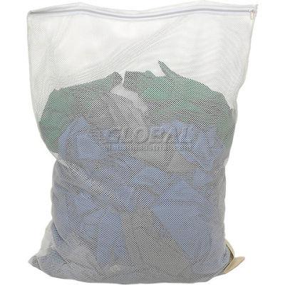 Sac en maille avec fermeture à glissière en nylon, blanc, 18 x 30, poids moyen, qté par paquet : 12