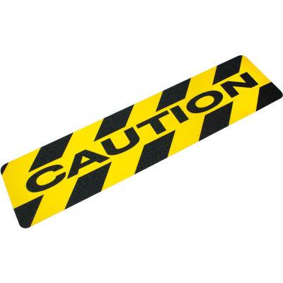 "Heskins ""Caution"" Anti Slip Stair Tread, Black/Yellow, 6"" x 24"""
