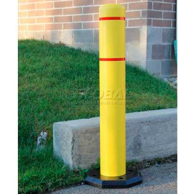 "Innoplast BollardGard Anywhere with 25 lb. Rubber Base, Yellow/White Tape, 4"" x 52"", BGAW452YW"