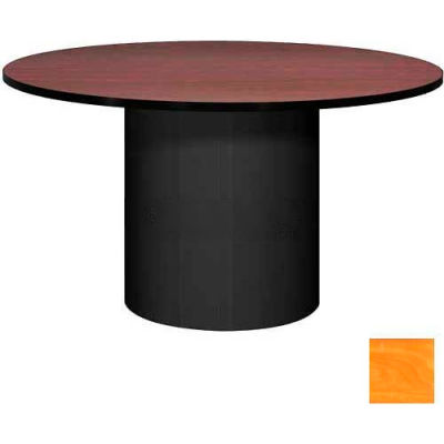 """Ironwood 48"""" Round Conference Table Oiled Cherry Top/Black Base"""
