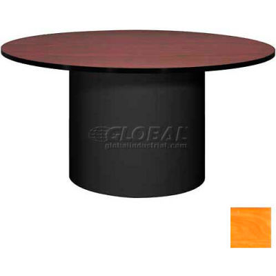 """Ironwood 60"""" Round Conference Table Oiled Cherry Top/Black Base"""