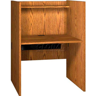 "Study/Computer Carrel Base - 36""W x 29-7/8""D x 48-1/8""H, Oak"