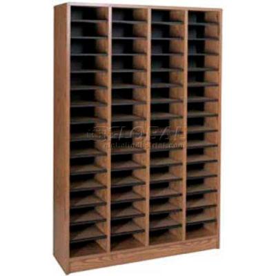 """Literature Organizer 60 Pocket - 40""""W x 12-1/8""""D x 60-1/2""""H Medium Oak"""
