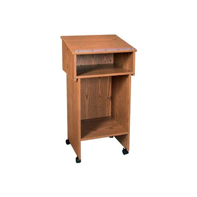 """Two Section Stand Up Podium / Lectern - 24""""W x 19-3 / 4""""D x 43-1 / 2""""H Medium Oak"""