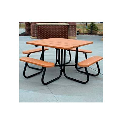Frog Furnishings Recycled Plastic 4 ft. Square Picnic Table, Cedar