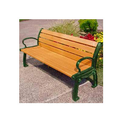 Frog Furnishings Recycled Plastic Heritage Cedar Bench & Green Frame, 6'