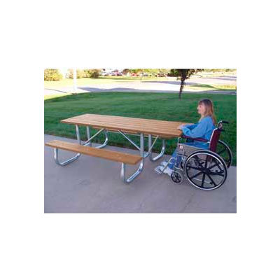 Frog Furnishings Recycled Plastic 8 ft. Galvanized Frame Picnic Table, ADA, Cedar