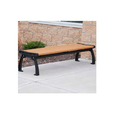 Frog Furnishings Recycled Plastic 8 ft. Heritage Backless Bench, Cedar Bench/Black Frame