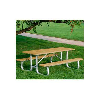 Frog Furnishings Recycled Plastic 8 ft. Galvanized Frame Picnic Table, Cedar
