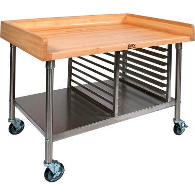"John Boos BAK03 Mobile Maple Top Prep Table - Stainless Steel Legs Shelf and Pan Rack72""W x 30""D"
