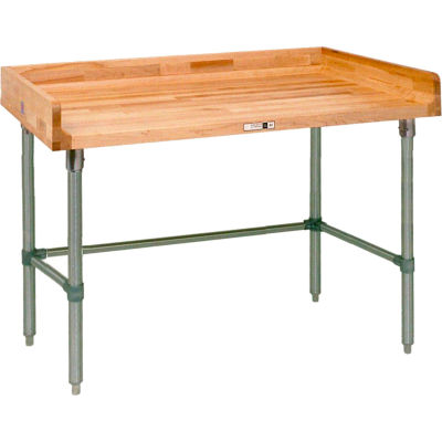 "John Boos DNB04 Maple Top Prep Table - Galvanized Legs and Bracing 84""W x 24""D"