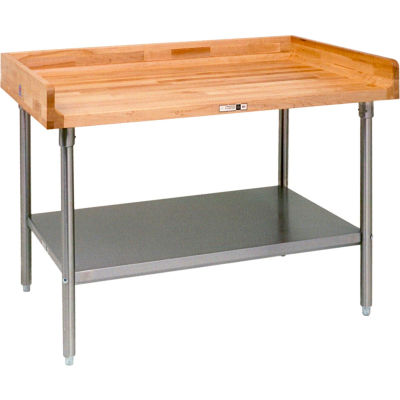 "John Boos DNS13 Maple Top Prep Table - Galvanized Legs and Shelf 48""W x 36""D"