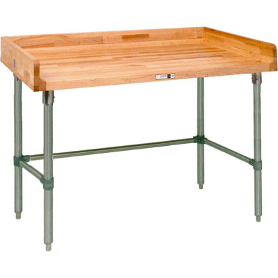 """John Boos DSB05 Maple Top Prep Table - Stainless Steel Legs and Bracing 120""""W x 24""""D"""