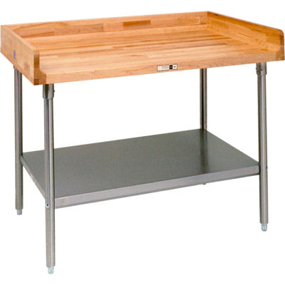"John Boos DSS07 Maple Top Prep Table - Stainless Steel Legs and Shelf 60""W x 30""D"