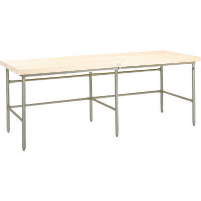 "John Boos Bakery Production Table Frame - NSF Stainless Steel Legs & Bin Stop Stringer 84""W x 36""D"