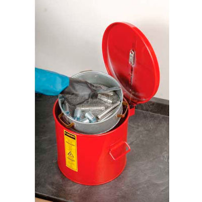 Justrite Wash Tank, 2-Gallon, w/ Basket, Red, 27712