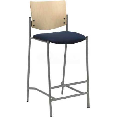 KFI Barstool - Fabric  - Navy with Natural Wood Back