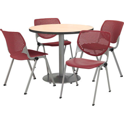 """KFI Dining Table & Chair Set - Round - 36""""W x 29""""H - Burgundy Plastic Chair with Natural Table"""