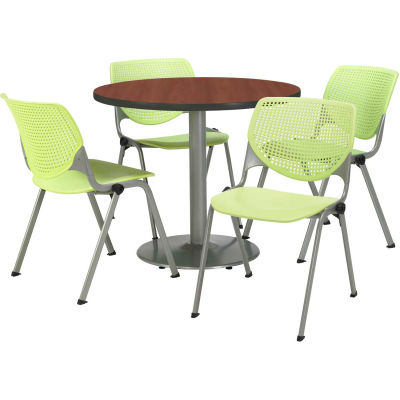 """KFI Dining Table & Chair Set - Round - 42""""W x 29""""H - Lime Plastic Chairs with Mahogany Table"""