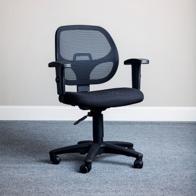 Interion® Office Chair With Mid Back & Adjustable Arms, Black, Black