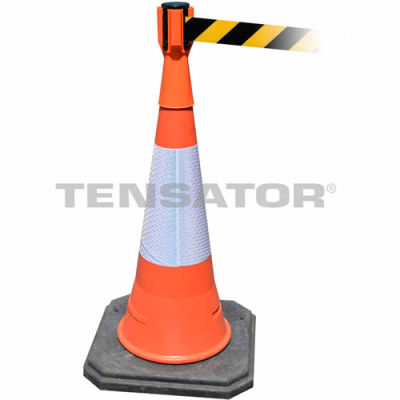 Tensabarrier Safety Crowd Control, Queue Cone Topper, Orange W/ 7,5' Ceinture rétractable noire/jaune