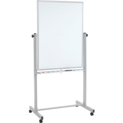 """Global Industral™ Mobile Reversible Magnetic Whiteboard - 30""""W x 40""""H - Steel - Silver Frame"""