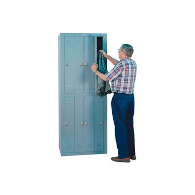 "Lyon 8 Door Personal Effects Apparel Locker W/Combo Locks, 32-9/16""Wx21""Dx84""H, Gray, Assembled"