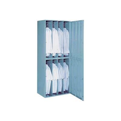 "Lyon 8 Door Wide-Body Hanging Garment Exchange Locker W/Combo Lock,32-9/16""Wx21""Dx84""D,Gry,Assembled"