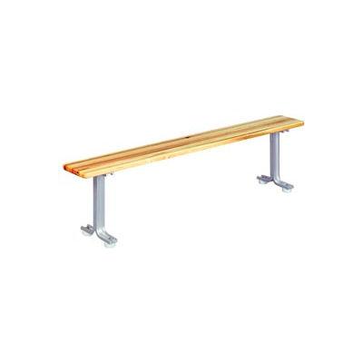 """Lyon Locker Bench Hardwood Top w/Aluminum Pedestals NF5785 - 60""""W x 9-1/2""""D x 18""""H"""
