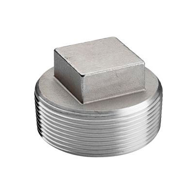 """Iso Ss 304 Cast Pipe Fitting Square Head Solid Plug 1/8"""" Npt Male - Pkg Qty 150"""