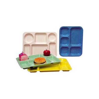 "Molded Fiberglass 5 Compartment School Tray 363008 -13-7/8""L x 10-3/4""W, Pkg Qty 12, Blue - Pkg Qty 12"