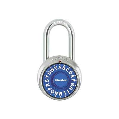"Master Lock® 1572LFBLU 3-Letter-Combo Padlock 1-1/2"" Inside Shackle HT, Control Chart,Bl Dial"