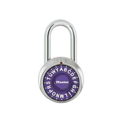 "Master Lock® 1572LFPRP 3-Letter-Combo Padlock 1-1/2"" Inside Shackle HT, Control Chart,Pl Dial"