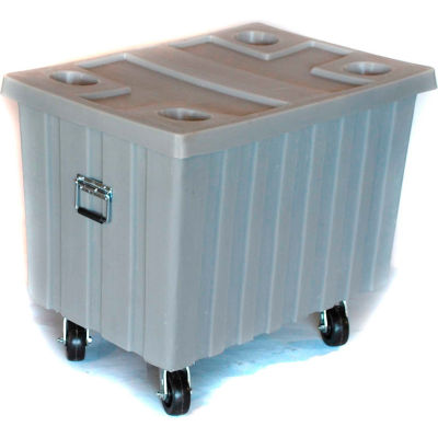 """Myton Bulk Shipping Poly Container MTE-2H5HL With Lid and Casters 41""""L x 28-1/4""""W x 32-1/2""""H, Orange"""