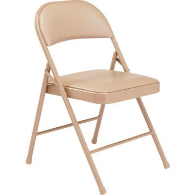 Interion® Folding Chair, Vinyl, Beige - Pkg Qty 4