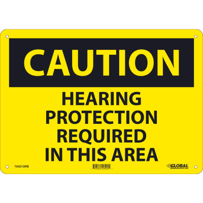 Global Industrial™ Caution Hearing Protection Required, 10x14, Rigid Plastic